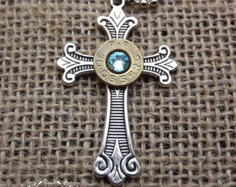 cross bullet necklace, bullet jewelry, christian cross, religious jewelry, gun jewelry, 30-06 brass bullet,