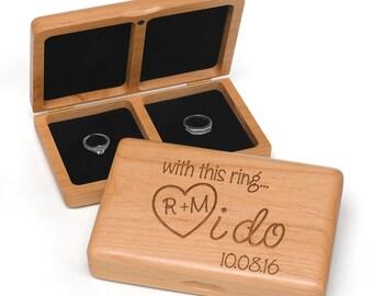 Personalized I Do Wooden Wedding Ring Box