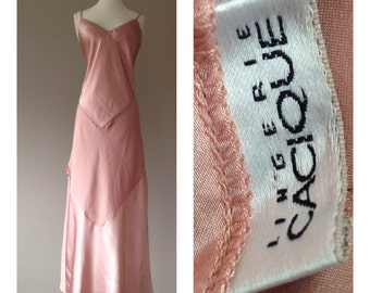 L / Satin Nightgown / Long Goddess Gown / Vintage Cacique Lingerie / Thigh High Slits / Size L /