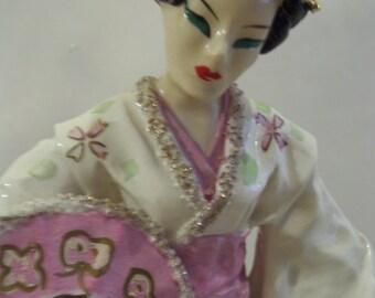 Porcelain Japanese Geisha Pink Kimono Asian Oriental Figurine Kathi Urback