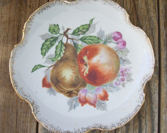 Vintage Fruit Apple Pear Cherry Collectors Plate Gold Scalloped
