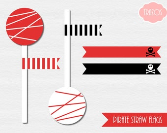 Pirate Straw Flags (INSTANT DOWNLOAD) - Printable Birthday