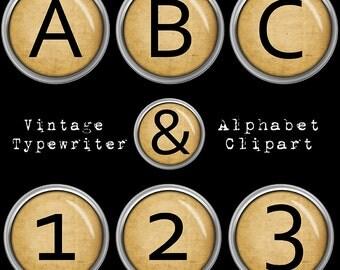 Old Typewriter Keys Alphabet Clipart, Vintage Typewriter Alphabet, Retro Printable Letters + Numbers + Punctuation