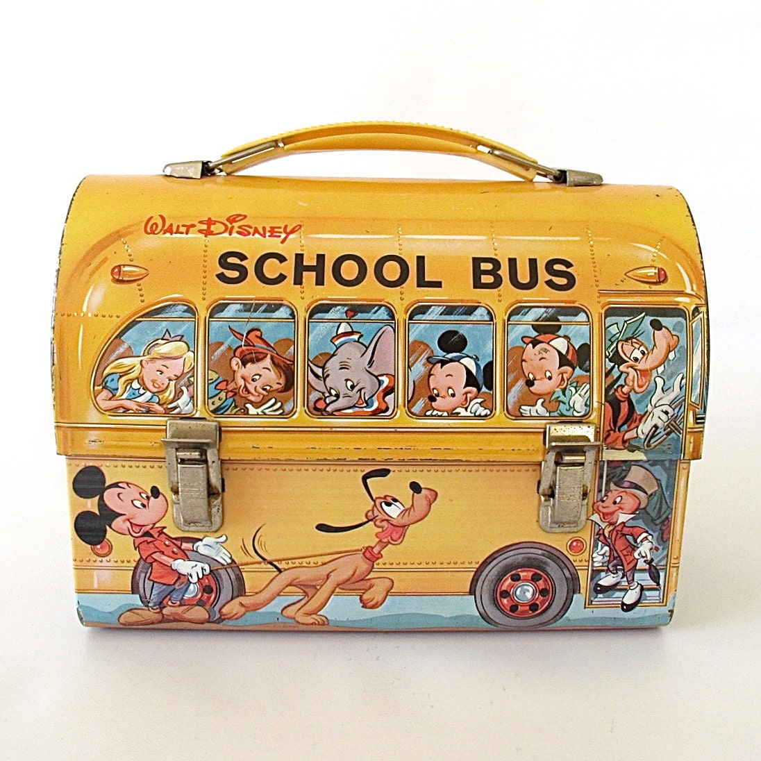 Vintage 1960 S Disney Dome Lunch Box Yellow Orange School