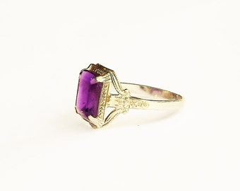Ostby and Barton 10K White Gold  Ornate Emerald cut Amethyst Engagement Ring,  Rare