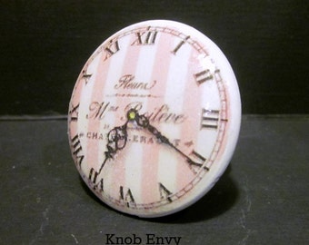 Paris Clock~ Pink and White Striped Knob