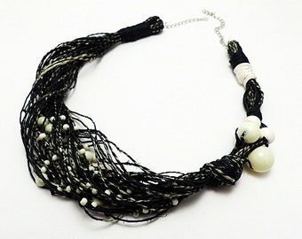 Black and white colored hemp twine necklace - linen cord jewelry