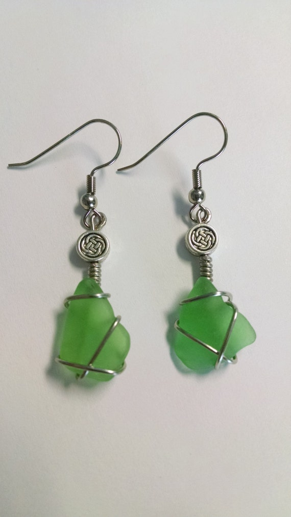 Real sea glass earrings celtic knot earrings emerald green for Irish jewelry stores in nj
