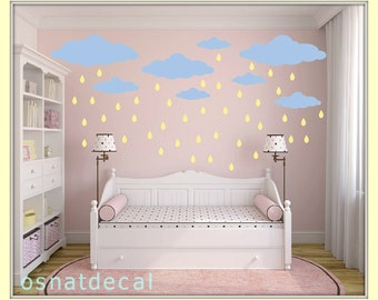 FREE SHIPPING Wall Decal 22 Blue Clouds & 65 Yellow Raindrops.Nursery Wall Decal. Vinyl Wall Decal. Kids Wall Decal.