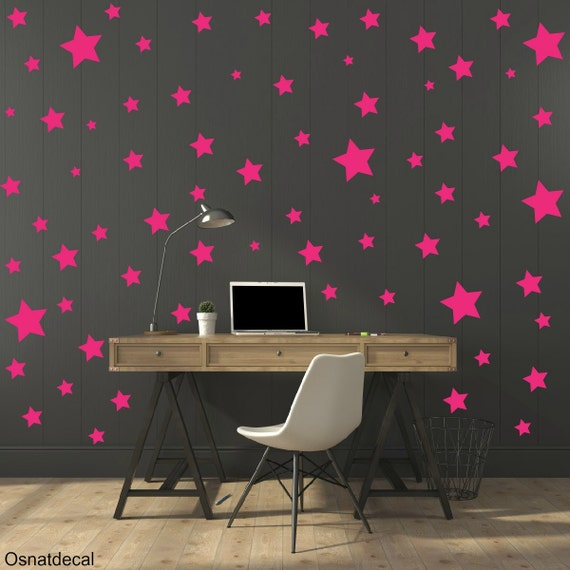 FREE SHIPPING Wall Decal Different Size of 150 Stars Color Pink. Home Decor.Nursery Wall Sticker. Vinyl Wall Decal