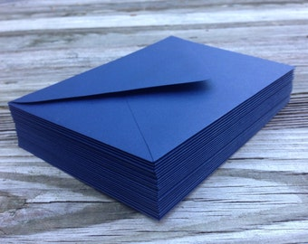 50 Navy Blue A7 5x7 Invitation or A1 (4Bar) RSVP Pointed Flap Envelopes - Night Navy Blue Paper Source