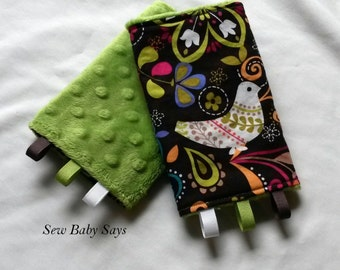 Baby Carrier Teething Pads-Reversible Strap Cover-Folk Birds/Jade Minky Drool Pads
