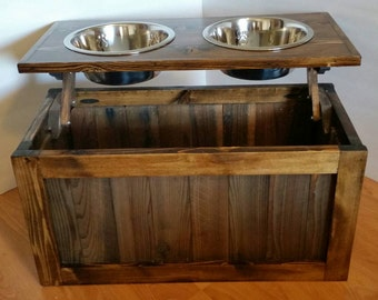 Raised dog feeder with storage, elevated feeder, dog feeder, pet feeder, dog feeding station, pet bowls, dog bowls, western dog feeder