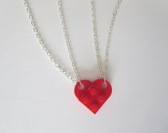 RED Friends Lego Heart Necklace