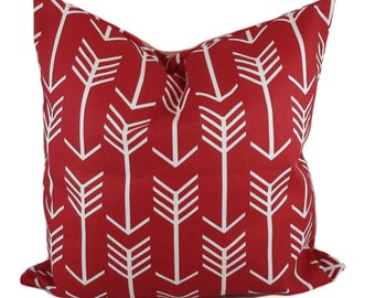 Red pillow cover, Decorative pillow, Throw pillow, Arrow pillow, Couch pillow, Toss pillow, Lumbar pillow, 12x16, 12x20, 16x16, 18x18, 20x20
