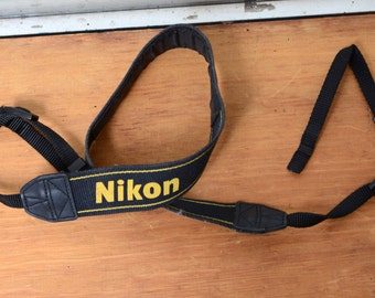 Woven Camera Strap With Plastic Buckles And Slider, Nikon Brand, Complete!