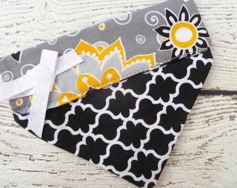 Dog Bandana,  Small, in grey black and yellow, modern print and quatrefoil fabric