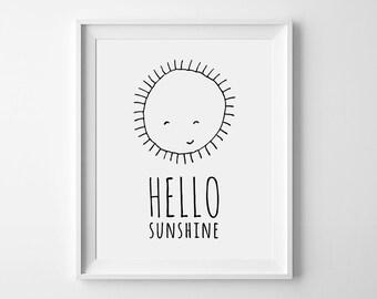 Hello Sunshine, playroom decor, nursery printable, wall art poster, Black and White nursery art, sunshine print, kids room sign