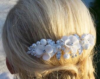 Pearl Wedding Comb, Rhinestone Comb, Flower Bridal Comb pearl, Wedding Crystal Hair Comb, Hair Comb, Wedding Accessory, Bridal Headpiece