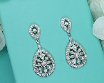Art Deco earrings, cubic zirconia earrings, art deco wedding earrings, bridal jewelry, wedding earrings, dangle bridal earring 212014451