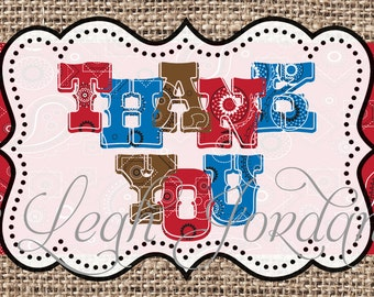 INSTANT DOWNLOAD Cowboy Thank You Card 4x6