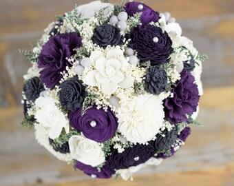Bridal Bouquet,Sola Flower Bridal Bouquet,Pantone,Egg Plant, Dark Purple, Purple Gray Bridal Bouquet,Handmade Bridal Bouquet, Rustic Bouquet