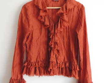 SALE - 15 dollars - Vintage D&T Dark Orange blouse with snap and frill collar