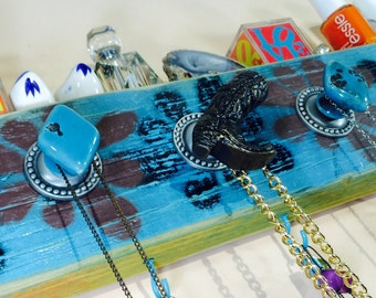 Upcycled wood Necklace holder/ jewelry wall storage /reclaimed wood hanging organizer stenciled flowers blue cowboy boot 5 knobs 4 hooks