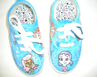 Bubble Guppies Nikelodeon Inspied Hand Painted Sneaker Girls  toddler size 8