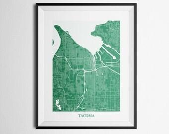 Tacoma, Washington Abstract Street Map Print