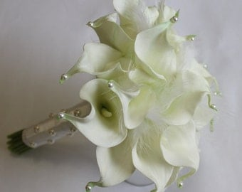 Wedding Bridal Bouquet With a Pearls - Real Touch White Calla Lily Bouquet Bridal Bouquet