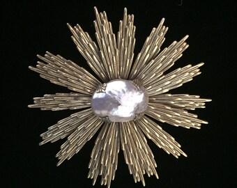 Starburst Pearl Vintage Brooch