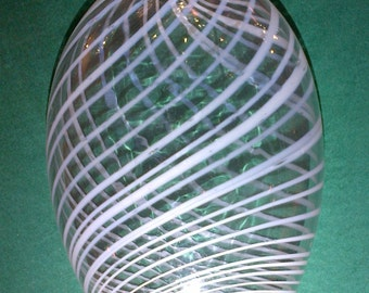 Nailsea Flask Clear with White Swirls