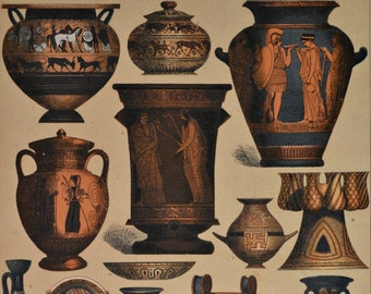 Greek ceramic objects. Ancient history. Antique print,1894.  123 years old print.  11,5 x 8,4 inches.