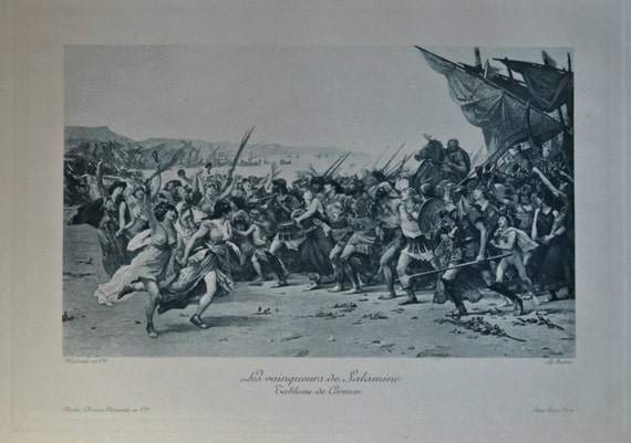 Victorious of Salamine. Antique lithograph. 111 years old print. 11'7 x 8'2 inches.