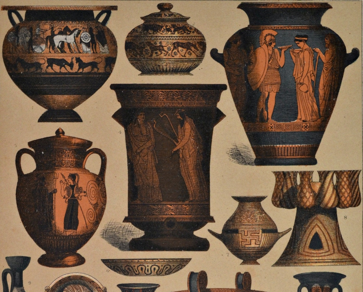 Greek ceramic objects. Ancient history. Antique print1894.