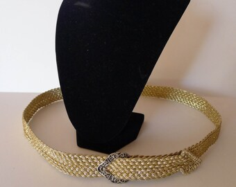 Macrame Metallic Thread Belt 1980s Featherweight
