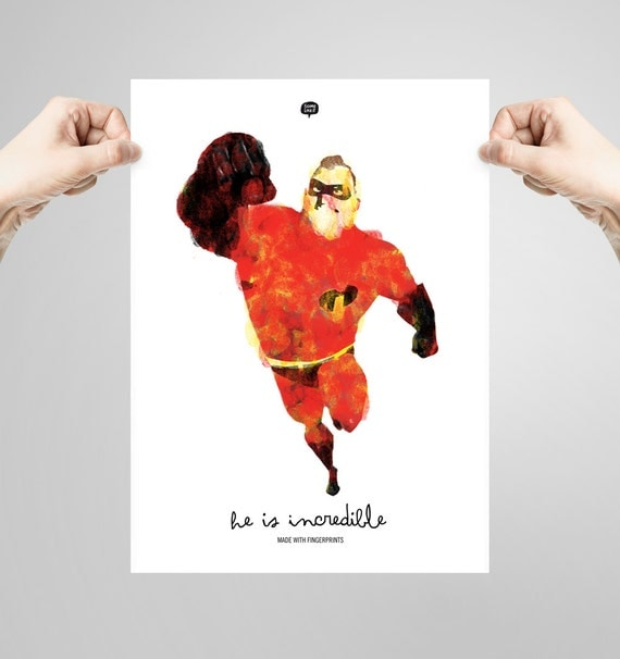 Wall art decor.  The Incredibles. Fingerprint. Printable art. Digital print. Illustration. Instant digital download