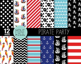 Pirate Digital paper, Pirates Scrapbooking Paper, Pirate Background, Nautical, Anchor, Ship  - Commercial & Personal - BUY 2 GET 1 FREE!