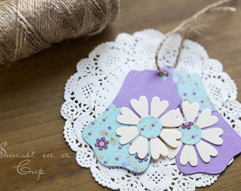 Flowers gift tags - set of 5