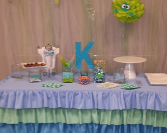 Multi Ruffle Tablecloth CHOOSE Your COLORS! We do CUSTOM Sizes! Choose Your Colors!  Birthday Party, Baptism, Baby Shower Tablecloth