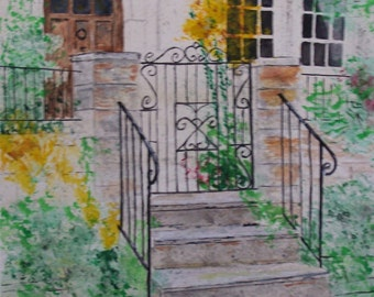 watercolor painting,Painting of house,iron gate painting,entrance painting,original painting, gate,cement steps, brownstone house,lantern,i