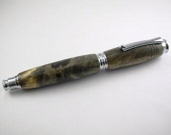 Modern-Art Deco Rollerball Pen- Buckeye Burl