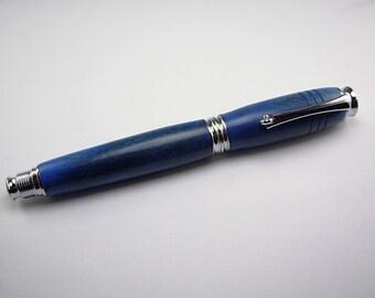 Modern-Art Deco Rollerball Pen- Blue Buckeye Burl