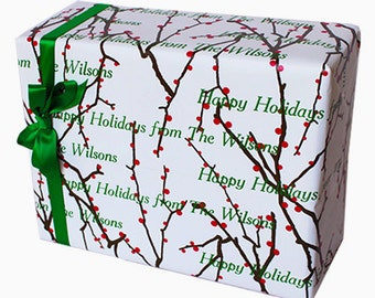 Christmas Wrapping Paper, Personalized Holiday Gift Wrap, Personalized Gift Wrap, Holiday Gift Wrap, Holly Branches Custom Wrapping Paper