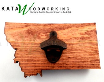 Montana Wood Cut-out Bottle Opener - Wall Mount - Handmade!