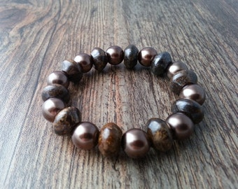 Bronzite bracelet and glass pearls. Bracelet in earthy tones.