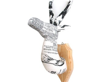 Antelope 2 — textile head trophy, wooden wall plaque, cotton, medallion, handmade, newspaper, taxidermy, fauxidermy, white black, OOAK