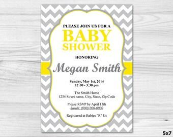 Grey & Yellow Baby Shower Invitation - DIY Printable Custom Invitation: baby girl, baby boy, yellow, chevron, grey, white