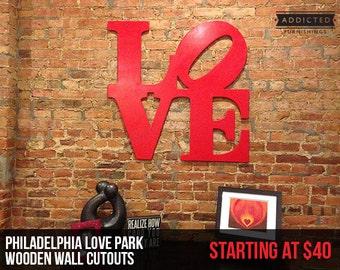 Love Park - Philadelphia Wood Love Park Wall Cutout - Wall Art or Wedding Guestbook